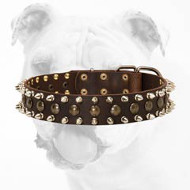 3 Rows Spiked and Studded Leather Bulldog Collar