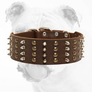 Handcrafted Leather Bulldog Collar with Spikes and Pyramids