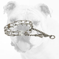 Chrome Plated Steel Bulldog Pinch Collar with Swivel and Quick Release Snap Hook