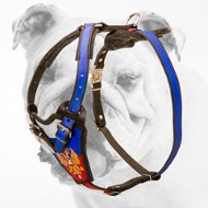 Walking Patriotic Leather Painted Bulldog Harness with a Russian Flag Pattern