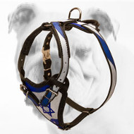 """Magen David"" Hand-painted Leather Bulldog Harness for Tracking"