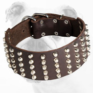 3 inch Studded Leather Bulldog Collar