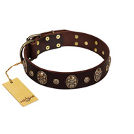 """Breaking the Horizon"" FDT Artisan Brown Leather Bulldog Collar with Engraved Studs and Medallions"
