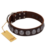 """Charming Circles"" FDT Artisan Brown Leather Bulldog Collar with Silver-like Studs"