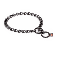 """Fur Protector"" Black Stainless Steel Bulldog Choke Collar - 1/6 inch (4 mm) wire diameter"