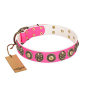 """Two Extremes"" FDT Artisan Pink Leather Bulldog Collar with Elegant Conchos and Medallions with Skulls"