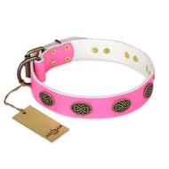"""Forever Fashion"" FDT Artisan Leather Bulldog Collar with Old Look Plates - 1 1/2 inch (40 mm) wide"