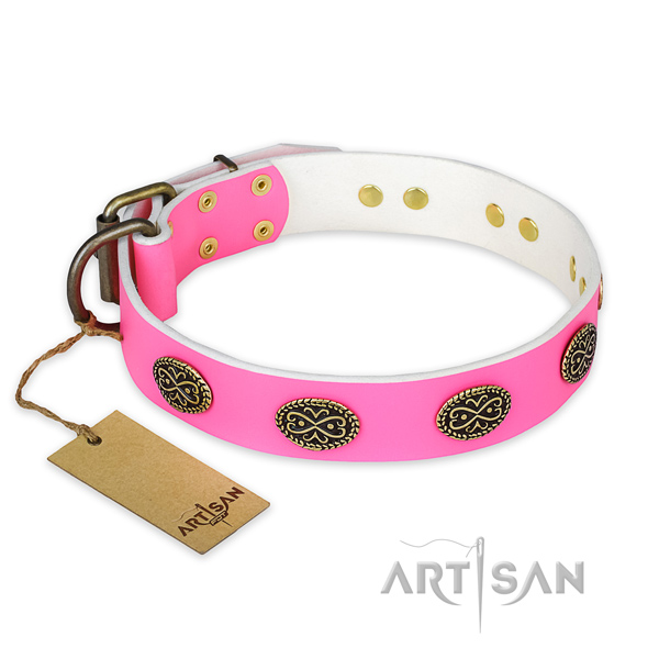 Stunning full grain leather dog collar for handy use