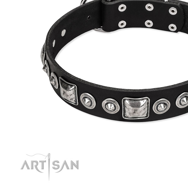 Leather dog collar made of high quality material with studs