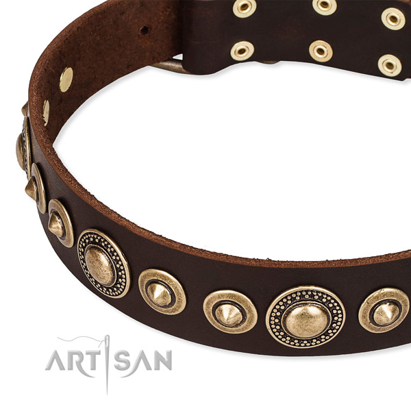Soft to touch full grain genuine leather dog collar handmade for your lovely doggie