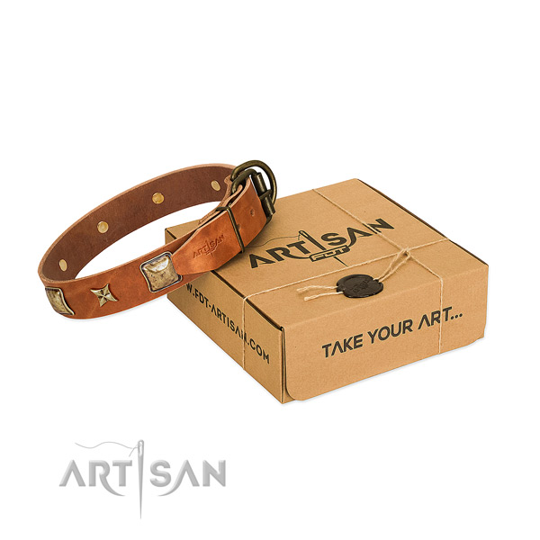 Awesome full grain natural leather collar for your handsome canine