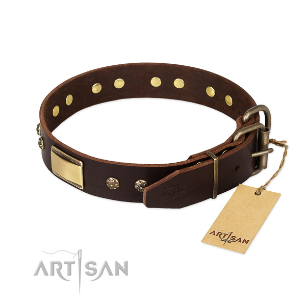 Exceptional full grain genuine leather collar for your four-legged friend