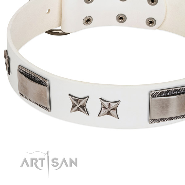 Flexible genuine leather dog collar with reliable buckle
