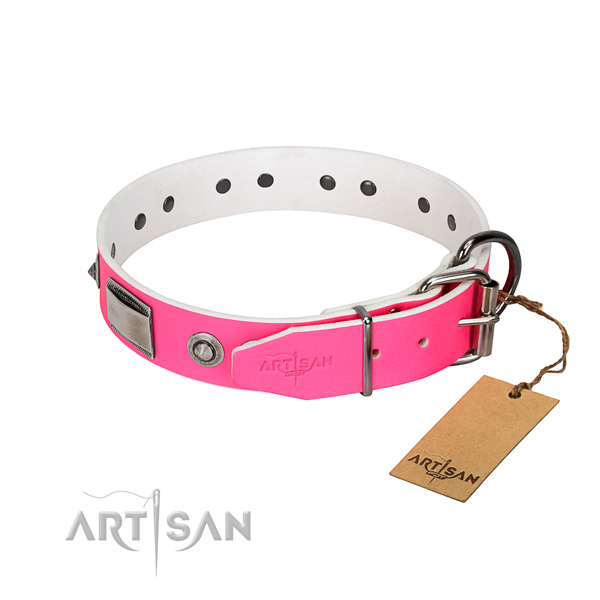 Fine quality natural leather collar with adornments for your dog