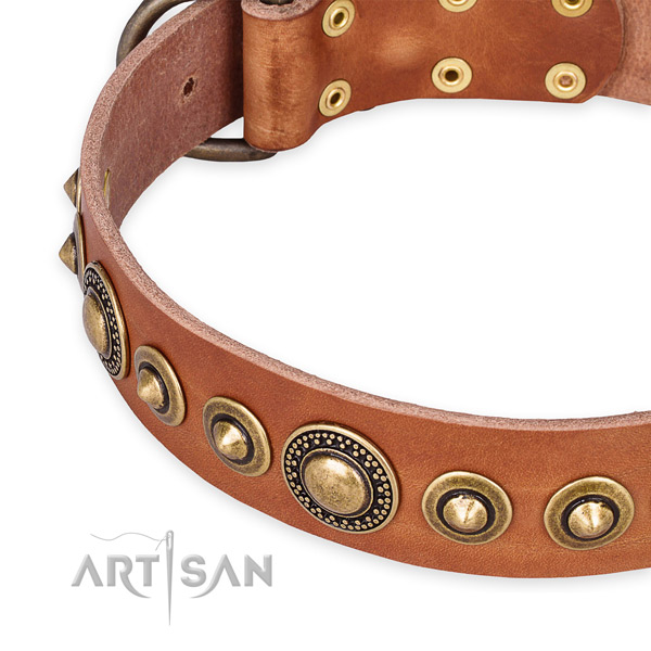 Soft natural genuine leather dog collar created for your impressive canine