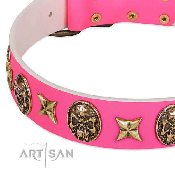 Full grain leather dog collar with designer adornments