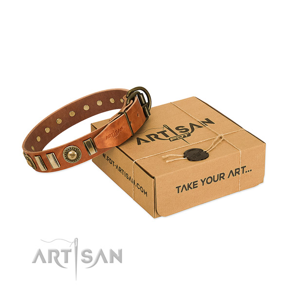 Durable natural leather dog collar with corrosion proof D-ring