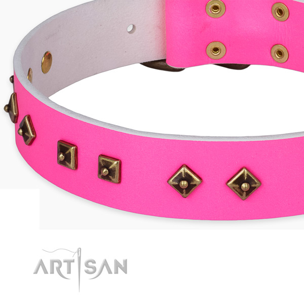 Stylish design natural leather collar for your attractive pet