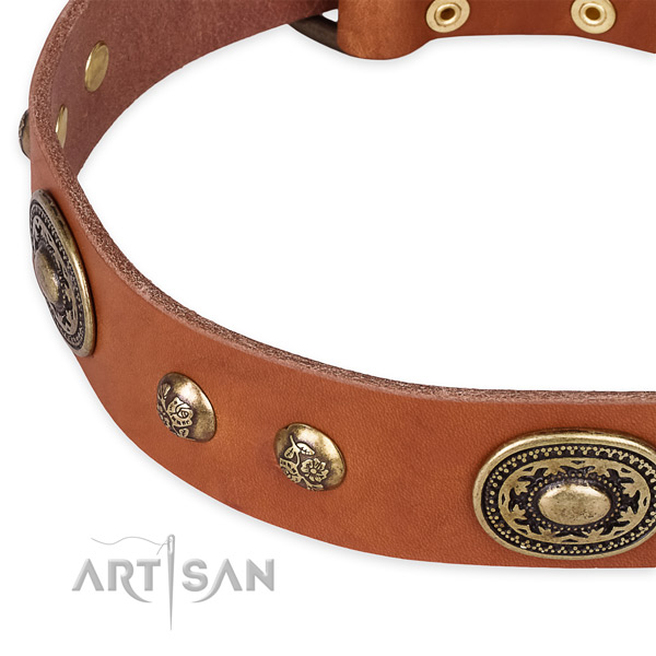 Adjustable genuine leather collar for your handsome dog