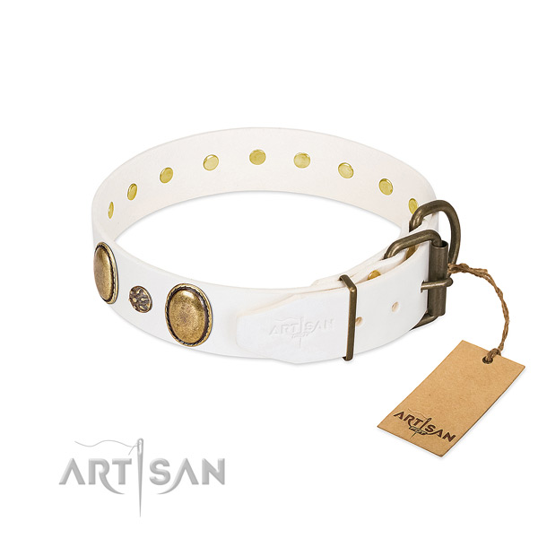 Comfy wearing top rate genuine leather dog collar