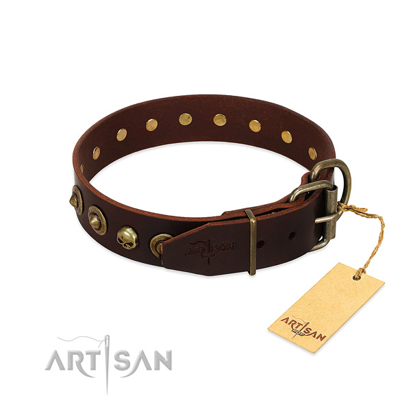 Full grain genuine leather collar with unique decorations for your four-legged friend