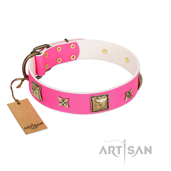 Full grain natural leather dog collar of soft to touch material with unique adornments