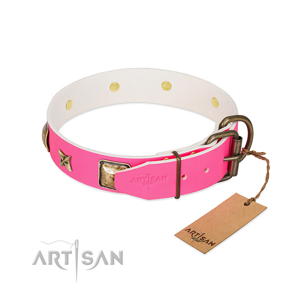 Rust-proof fittings on full grain genuine leather collar for basic training your canine
