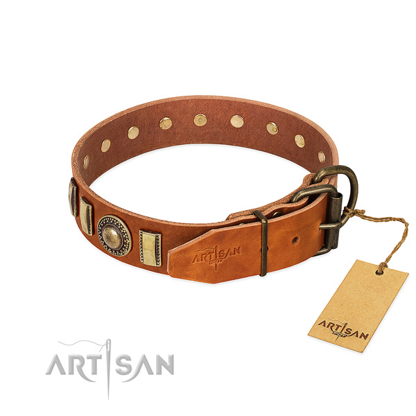 Inimitable full grain natural leather dog collar with rust-proof buckle