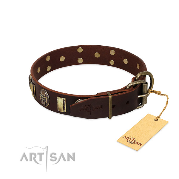 Leather dog collar with corrosion resistant traditional buckle and embellishments