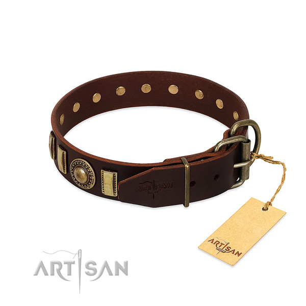 Fine quality genuine leather dog collar with rust-proof hardware
