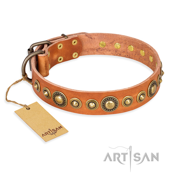 Flexible natural genuine leather collar handmade for your dog
