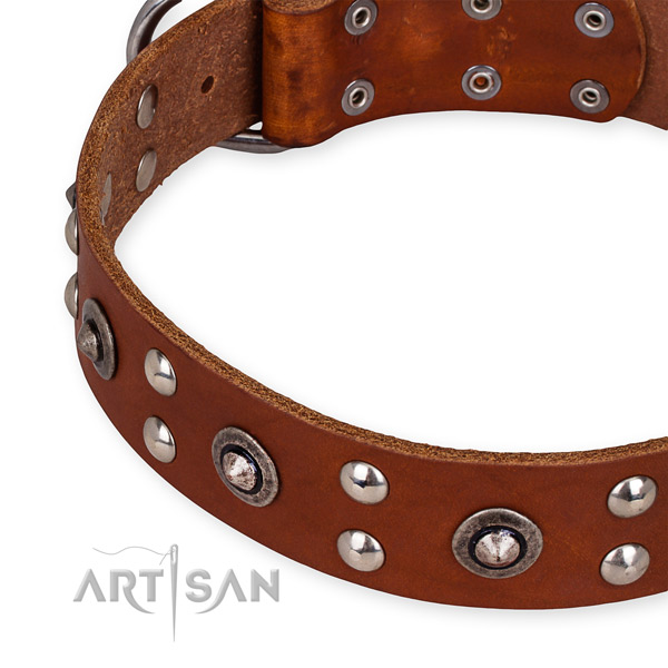 Genuine leather collar with rust resistant buckle for your lovely pet