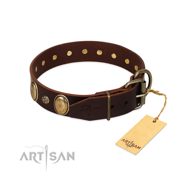 Daily walking soft full grain genuine leather dog collar