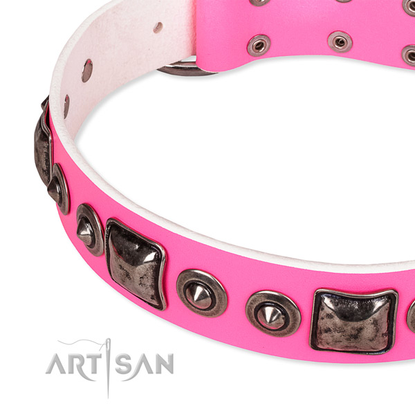 Soft genuine leather dog collar created for your stylish dog
