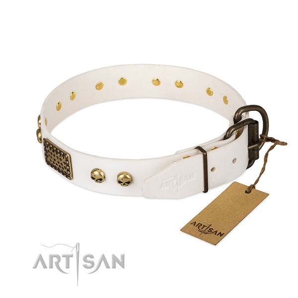 Adjustable natural leather dog collar for daily walking your doggie
