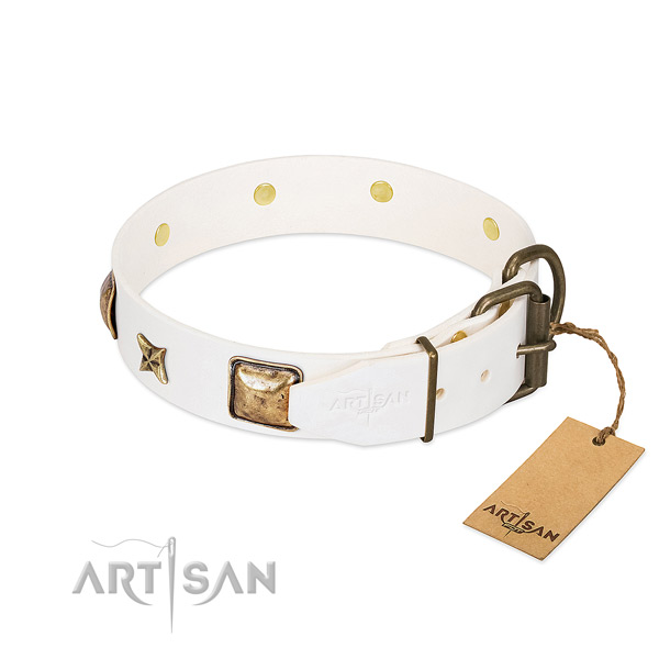 Full grain leather dog collar with strong traditional buckle and adornments
