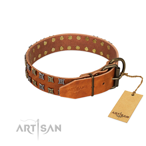 Soft leather dog collar crafted for your dog
