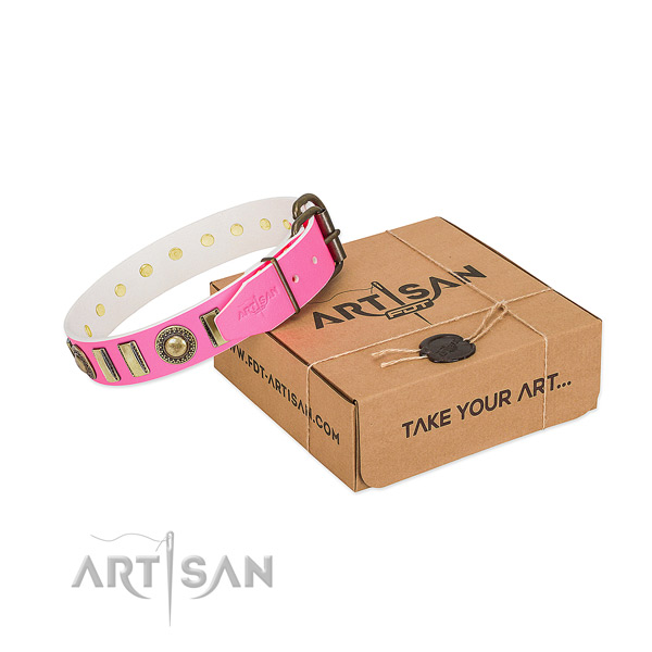 Soft genuine leather dog collar made for your pet
