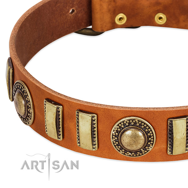 Gentle to touch genuine leather dog collar with rust resistant D-ring