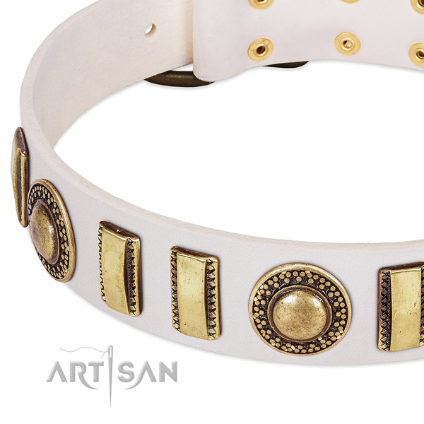 Soft to touch natural leather dog collar with strong fittings