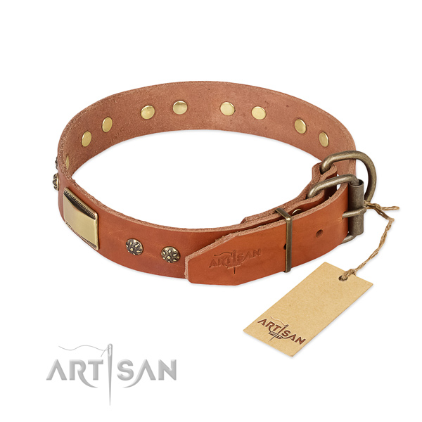 Full grain genuine leather dog collar with corrosion proof hardware and decorations