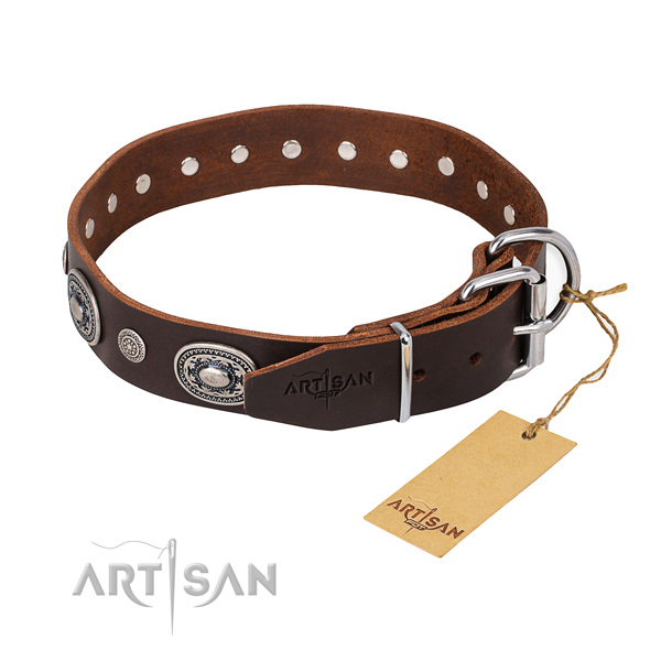 High quality full grain natural leather dog collar made for fancy walking
