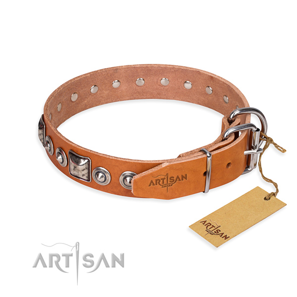 Durable natural genuine leather dog collar handcrafted for fancy walking