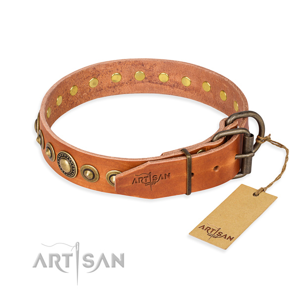 Gentle to touch full grain leather dog collar crafted for comfy wearing