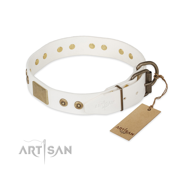 Full grain genuine leather dog collar with rust-proof traditional buckle and adornments