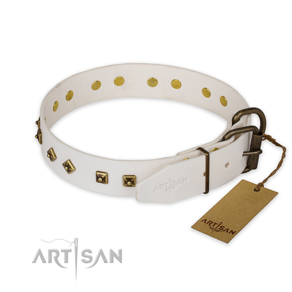 Corrosion resistant hardware on genuine leather collar for walking your doggie