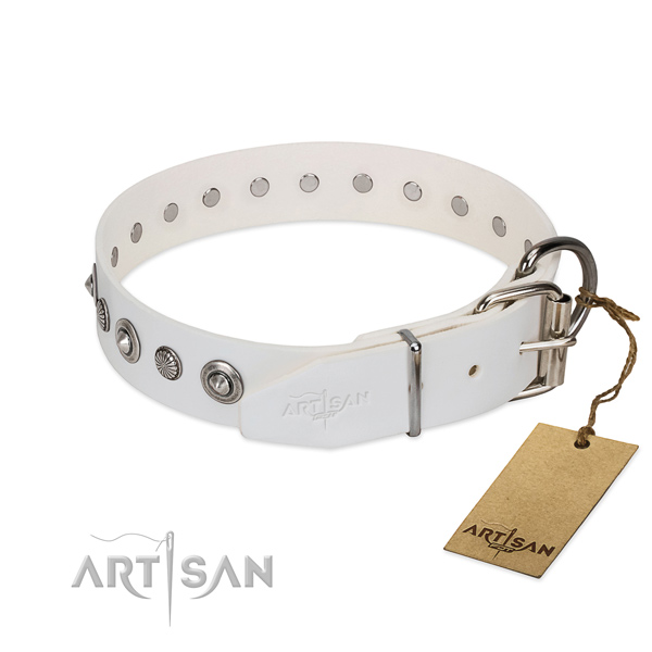 Top quality natural leather dog collar with trendy decorations