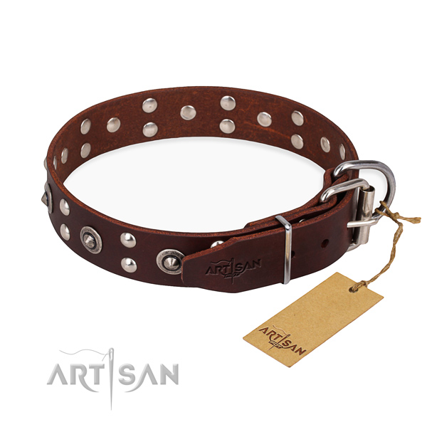 Durable fittings on genuine leather collar for your stylish dog