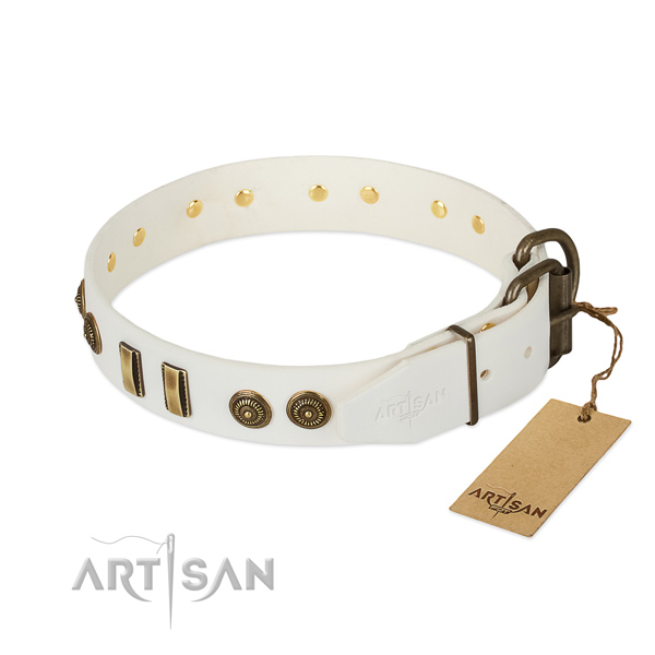 Reliable fittings on full grain natural leather dog collar for your doggie