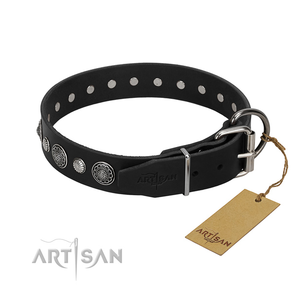 Fine quality leather dog collar with remarkable decorations